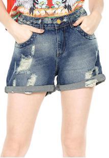 Bermuda Jeans Lez A Lez Rasgos Azul