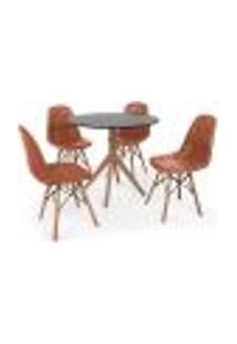 Conjunto Mesa De Jantar Maitê 80Cm Preta Com 4 Cadeiras Charles Eames Botonê - Marrom