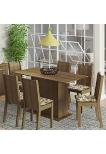 Conjunto De Mesa Com 6 Cadeiras Celeny Rustic Com Lirio Bege