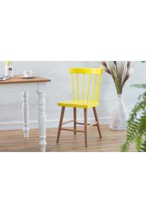 Cadeira Para Cozinha Folk Verniz Jatobá E Amarelo 45X46X83Cm