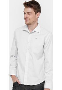 Camisa Forum Manga Longa Bordado Masculina - Masculino-Off White