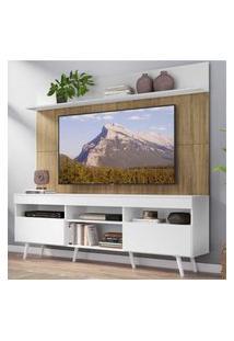 """Rack Com Painel Tv 65"""" Madri Multimóveis Branco/Rustic Com Prateleira E Pés Retrô Branco"""