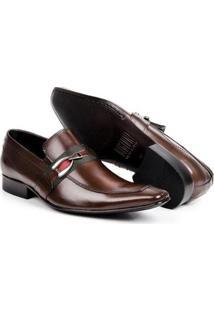 Sapato Social Couro Bigioni Bico Fino Masculino - Masculino-Marrom