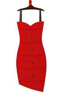 Cômoda Suspensa 4 Gavetas Dress 1081 Cacau/Vermelho - Maxima