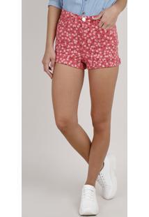 Short De Sarja Feminino Hot Pant Estampado Floral Barra Dobrada Coral