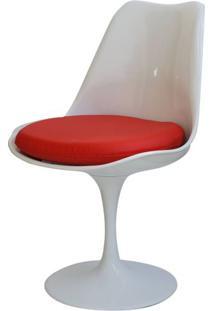 Cadeira Saarinen Branca (Com Almofada Vermelha) - 15049 Sun House