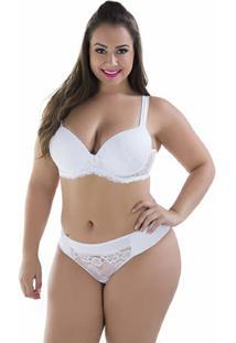 Conjunto Plus Size Diário Íntimo Com Bojo - Feminino-Branco