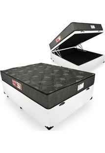 Cama Box Com Baú Casal + Colchão De Espuma D23 - Prorelax - Sienna 24X188X138Cm Branco