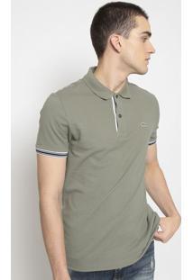 Polo Slim Fit Com Bordado- Verde Militar & Off Whitelacoste