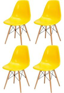 Kit 04 Cadeiras Decorativas Lyam Decor Eiffel Charles Amarelo.