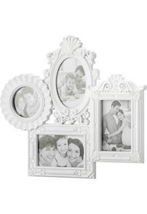 Porta-Retrato Para 4 Fotos Branco Retrô 3057 Lyor Classic