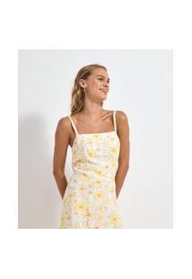 Blusa Sem Manga Viscose Floral Amarelo Cropped Com Alça Trançada | A-Collection | Branco | M