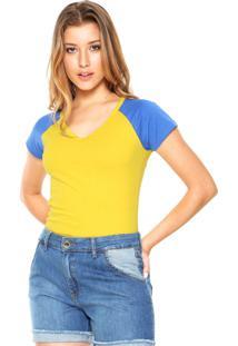 Camiseta Das Avessas Bicolor Amarelo