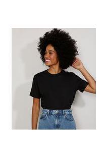 Camiseta Feminina Manga Curta Básica Ampla Decote Redondo Preta