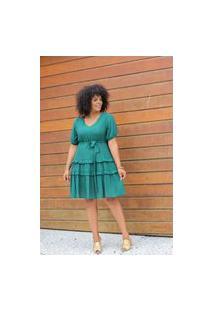 Vestido Curto Almaria Plus Size Uva Doce Faixa Verde