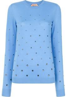 Nº21 Suéter Com Detalhe De Strass - Azul