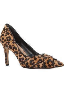 Scarpin Couro Shoestock Salto Alto Onça