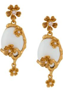 Oscar De La Renta Pearl-Embellished Drop Earrings - Dourado