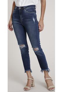 Calça Jeans Feminina Skinny Cintura Super Alta Destroyed Azul Escuro
