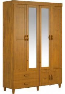 Guarda Roupa Finestra Ecco 06 Portas 02 Gavetas C/Espelho Teca