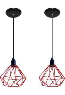 Kit Com 02 Luminarias Pendente Aramado Modelo Diamante Vermelho