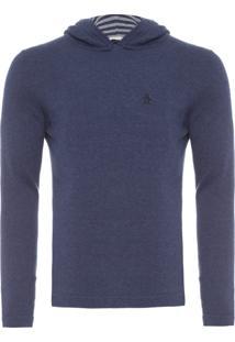 Blusa Masculina Tricot Com Capuz - Azul Marinho