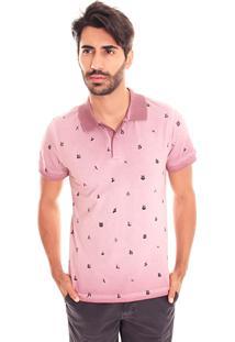 Camiseta Polo Convicto Com Estampa E Tingimento Vinho