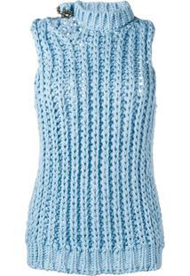 Calvin Klein 205W39Nyc Blusa De Tricô Sem Mangas - Azul
