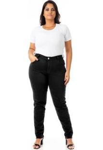 Calça Jeans Cigarrete Color Destroyed Plus Size Confidencial Extra Feminina - Feminino-Preto