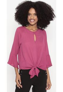 Blusa Com Amarração & Botões - Rosa Escuro - Wool Liwool Line