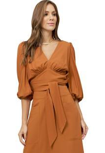 Blusa Mx Fashion De Viscose Com Mangas Bufantes Bella Caramelo