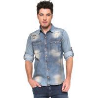 6308537ca5 Camisa Jeans Zune Reta Destroyed Azul