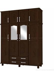 Guarda-Roupa Duplex Com Espelho 2 Gavetas Aventurina Em Madeira Maciça 8 Portas Tabaco - Kitimar Móveis