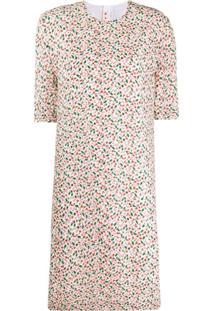 Marni Vestido Reto Com Estampa Floral - Neutro