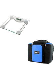 Kit Dagg Bolsa Térmica Fitness G Azul E Balança Digital Prata/Azul