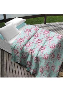 Colcha Teka Solteiro Azul Estampa Floral - 90 Fios-Camile