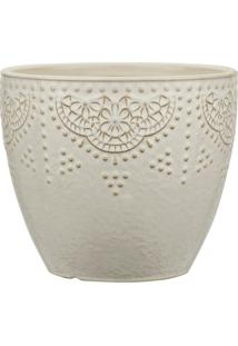 Kit Cachepot Off White Em Cerâmica 3 Peças