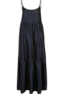 Sies Marjan Vestido Longo Brianna Com Efeito De Pele De Crocodilo - Azul