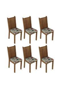 Kit 6 Cadeiras 4290 Madesa - Rustic/Hibiscos Marrom