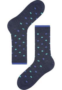 Meias Curtas Estampada - Azul U