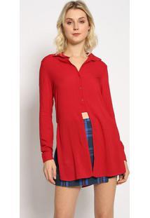 Camisa Alongada Com Fenda - Vermelha - Sommersommer