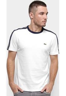 Camiseta T-Shirt Lacoste Listras Masculina - Masculino-Branco