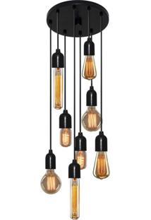 Luminária Pendente Retro Md-4162/8 Suporte Para Lâmpada Não Inclusa Vivare Iluminação Bivolt 4162/8 Npr