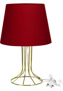 Abajur Torre Dome Vermelho Com Aramado Dourado