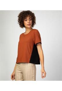 Camiseta Liz Easywear Manga Curta Feminina - Feminino-Caramelo