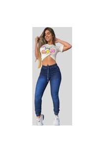 Calça Jogger Jeans Feminina Fec Fashion Premium Azul Escuro