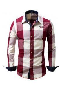 Camisa Masculina Xadrez Manga Longa - Vinho