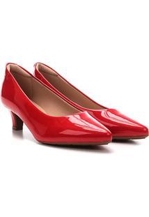 Scarpin Modare Salto Baixo Verniz - Feminino-Vermelho