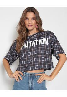 "Blusa Cropped ""Reputation"" - Roxo Escuro & Preta - Mmy Favorite Things"