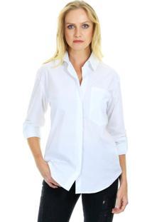 Camisa Aha Manga Longa Lisa Com Martingales Utilitários E Vista Invisível Branco